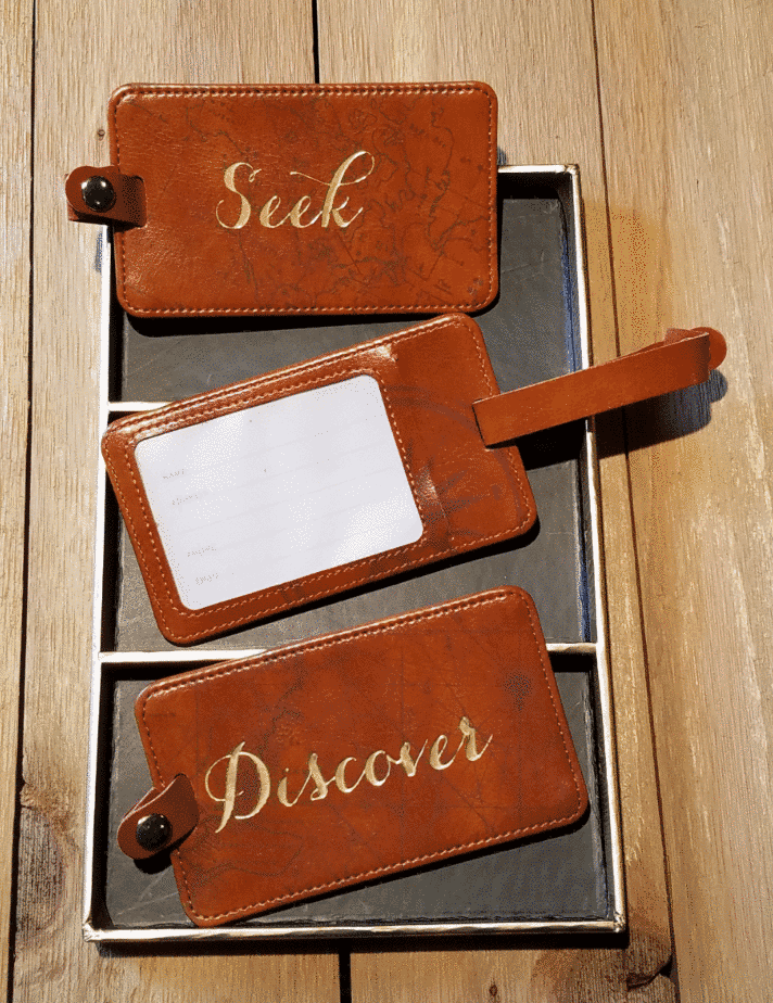 seek explore discover brown luggage tags back