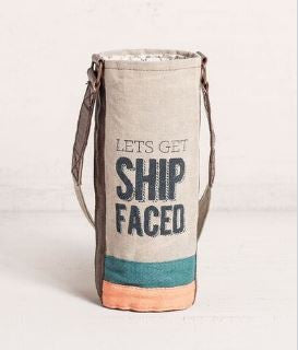 ship faced wine koozie
