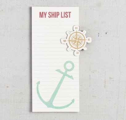 anchor compass note pad magnet
