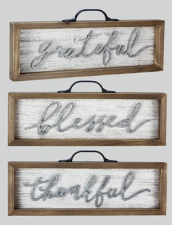 Grateful, Blessed, Thankful - Suitcase Signs