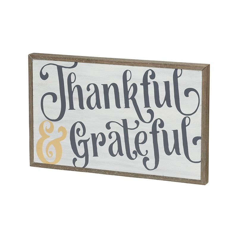 thankful and grateful painted wooden sign on barn wood