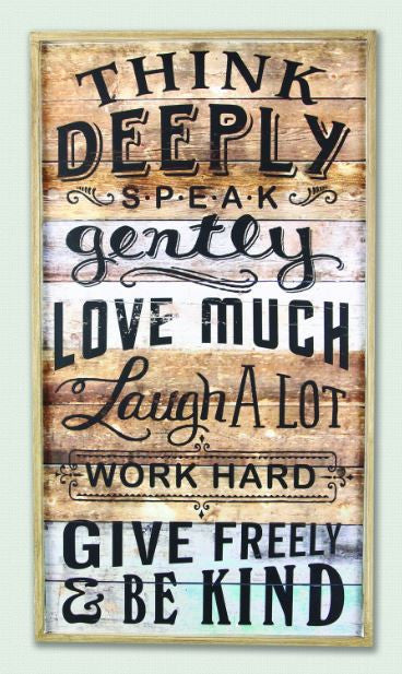 think deeply wood sign