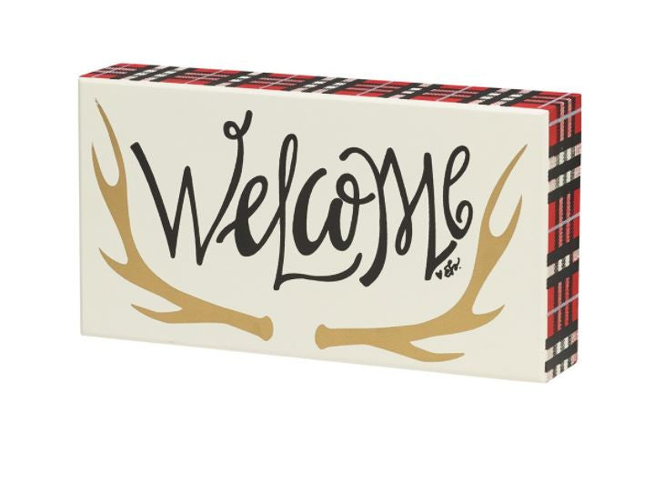 Welcome - Plaid-Box Sign