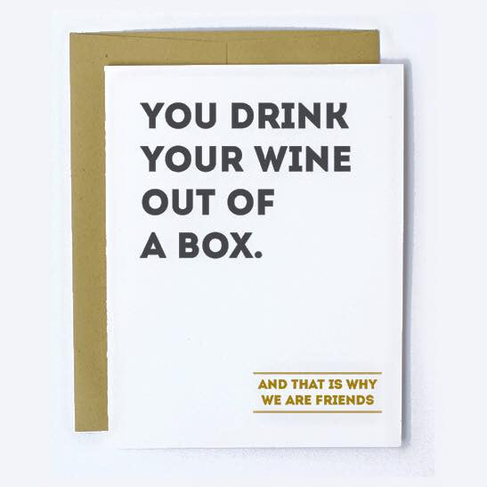 wine out of a box note card