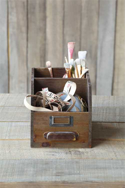 wooden storage bin with supplies