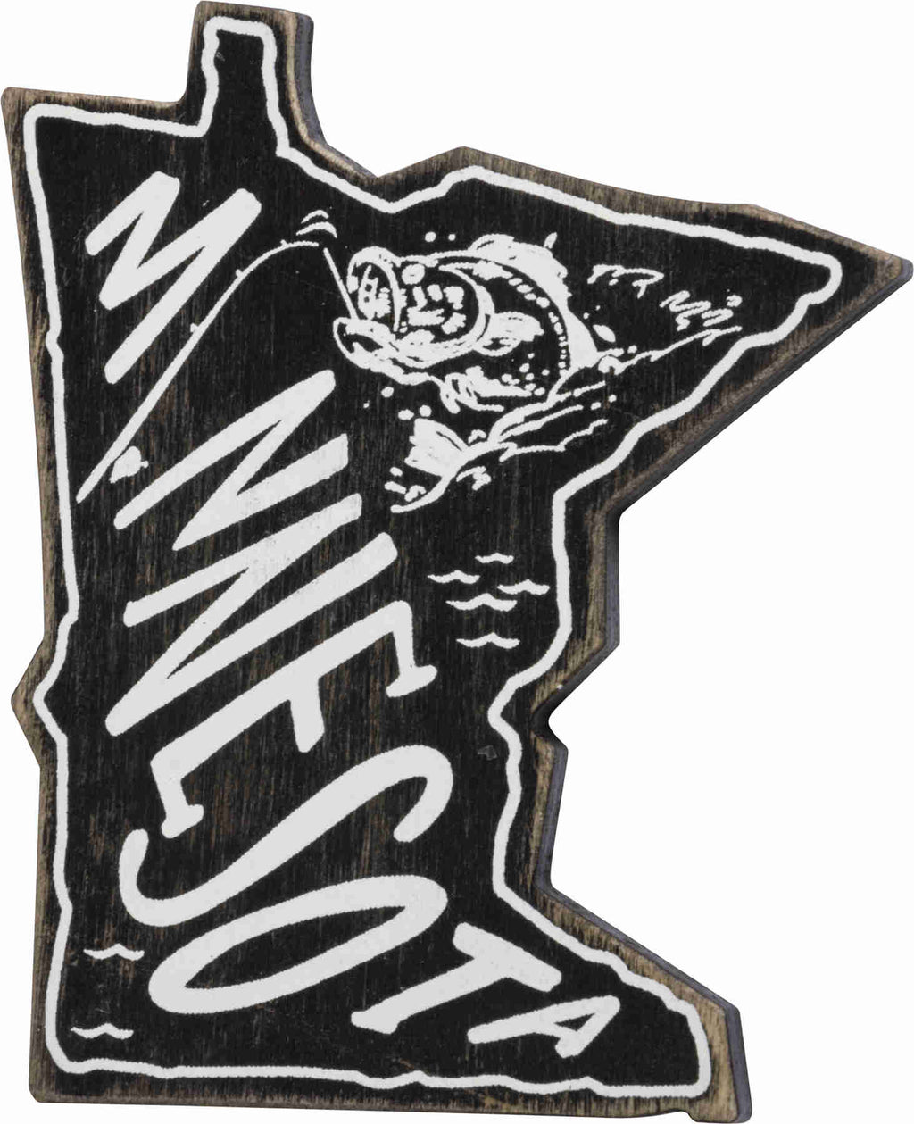 wooden black minnesota magnet