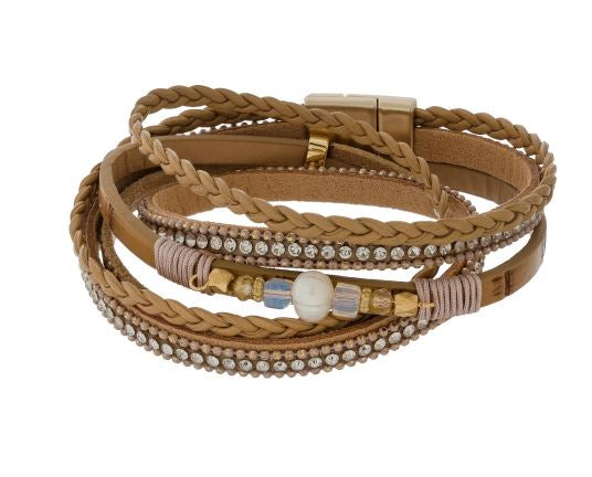Tan Faux Leather Wrapped Bracelet