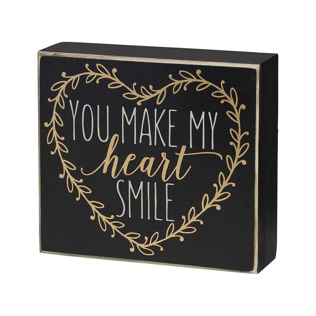 you make my heart smile painted wooden sign
