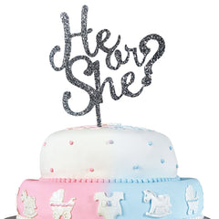 JennyGems Gender Reveal Party & Baby Shower Cake Topper Decoration - He or She?