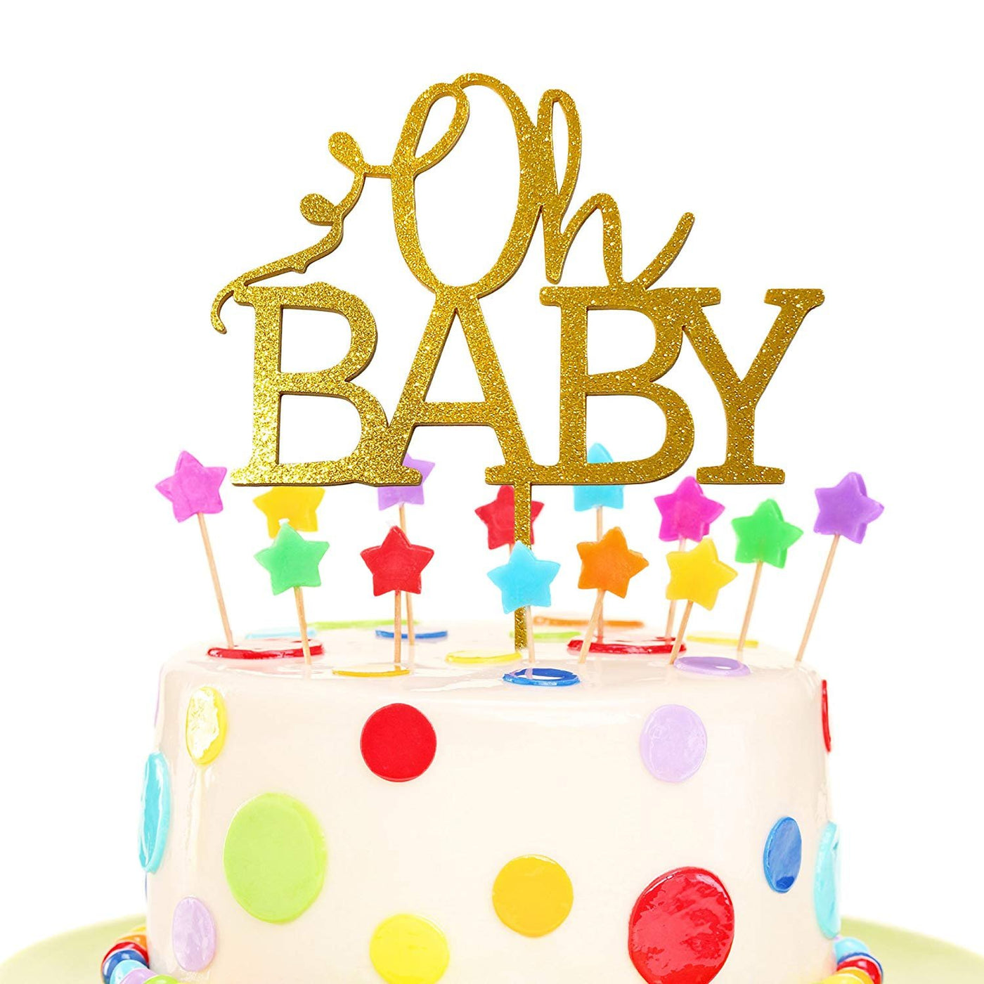 JennyGems Oh Baby Shower Cake Topper Decoration - Gender Reveal Cake Topper - Oh Baby