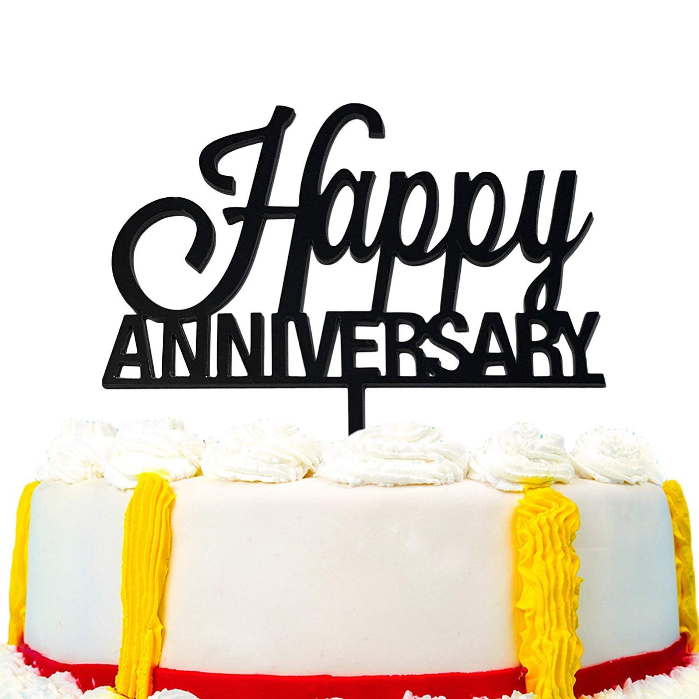 JennyGems Happy Anniversary Cake Topper, Sturdy Acrylic, Scripted, Wedding Anniversary