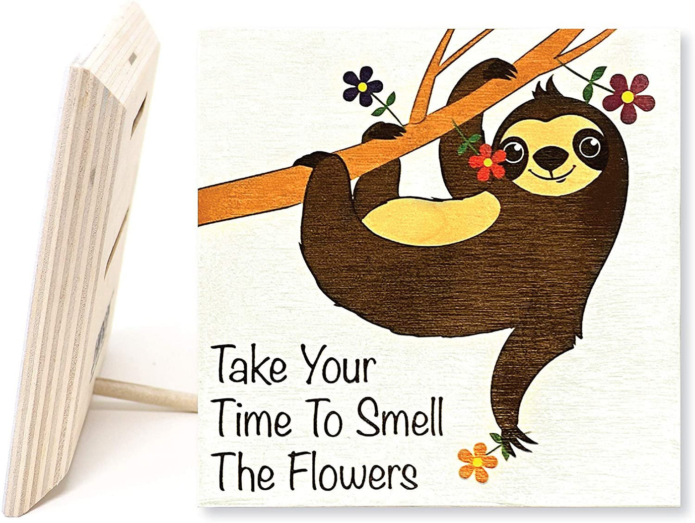 JennyGems Sloth Sign Decor | Take Time to Smell The Flowers | Real Wood Sign | Made in USA