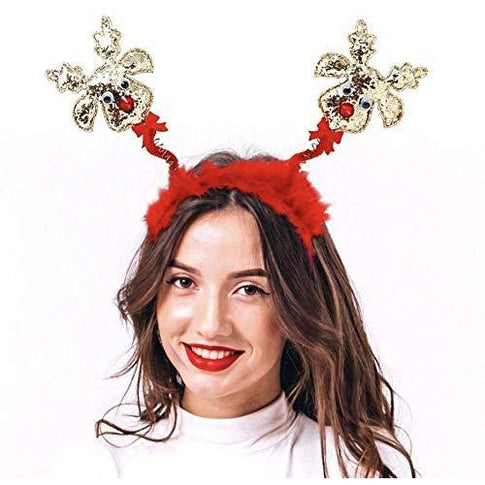 JennyGems - Christmas Red Nose Reindeer Sparkly Headband Bopper - Fun Party Hairband - Holiday Headband- Christmas Headband with Springs - Glitter Red Nose Reindeer with Red Feather Boa on Band