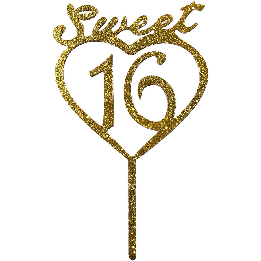 JennyGems Sweet 16 Cake Topper - Gold Sweet 16th Birthday Cake Topper - Sweet Sixteen Birthday Party Cake Decoration