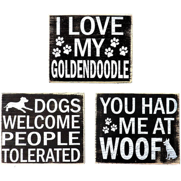 JennyGems - Wood Rustic Golden Doodle Refrigerator Magnet - Set of 3 - I Love My GoldenDoodle, You Had Me at Woof, Dogs Welcome People Tolerated