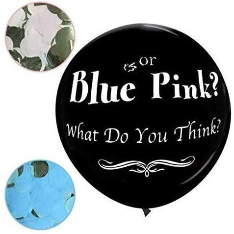 JennyGems Gender Reveal Balloon, Jumbo 36 Gender Reveal Pop Confetti Balloon With Blue and Pink Confetti Packets - Baby Shower Party Balloon Supplies and Decorations - Blue or Pink? What Do You Think?