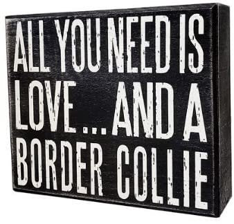 JennyGems - All You Need is Love and a Border Collie - Real Wood Stand Up Box Sign - Border Collie Gift Series - Border Collie Moms and Owners - Shelf Knick Knacks
