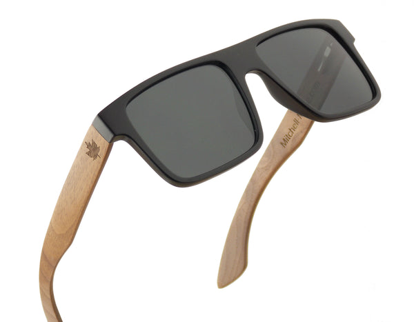 Walnut Wood Polarized Sunglasses - Flat Aviator -wood sunglasses by Mitchell-Made.com