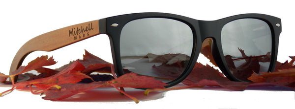 Red Wood Polarized Sunglasses - Wayfarer - Silver Flash Lenses  *FREE SHIPPING* -wood sunglasses by Mitchell-Made.com