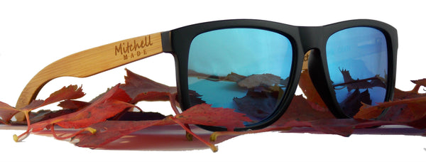 Bamboo Wood Polarized Sunglasses - Wayfarer II - Blue Flash Lenses  *FREE SHIPPING* -wood sunglasses by Mitchell-Made.com