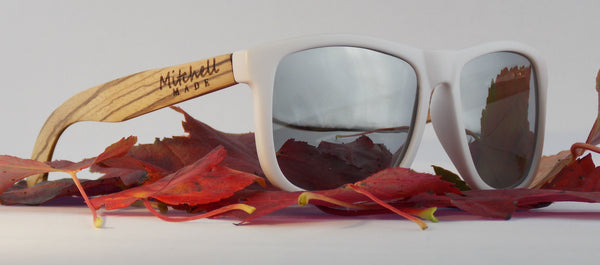 Zebra Wood Polarized Sunglasses - Wayfarer II - Silver Flash Lenses  *FREE SHIPPING* -wood sunglasses by Mitchell-Made.com