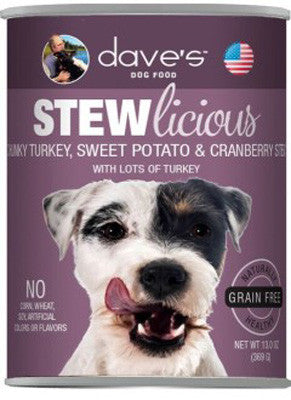 Daves Stewlicious Grain Free Canned Dog Food Chunky Turkey, Sweet Potato & Cranberry Stew -13oz-