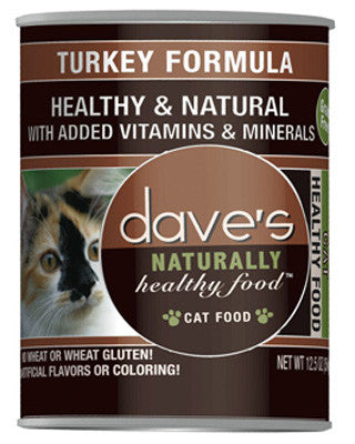Daves Naturally Healthy Canned Cat Food Grain Free Turkey 12.5oz