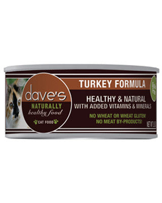 Daves Naturally Healthy Grain Free Canned Cat Food Turkey Dinner 5.5oz