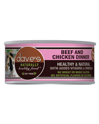 Daves Naturally Healthy Grain Free Canned Cat Food Beef and Chicken 5.5oz