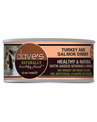 Daves Naturally Healthy Grain Free Canned Cat Food Turkey and Salmon 5.5oz