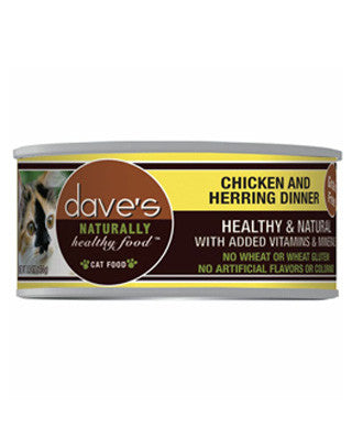 Daves Naturally Healthy Grain Free Canned Cat Food Chicken and Herring 5.5oz