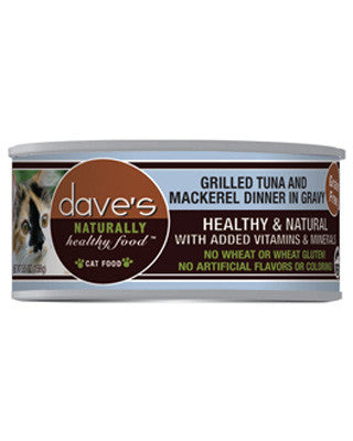 Daves Naturally Healthy Grain Free Canned Cat Food Tuna and Mackerel 5.5oz