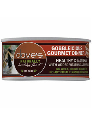 Daves Naturally Healthy Grain Free Canned Cat Food Gobbleiscious Gourmet 5.5oz