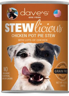 Daves Stewlicious Grain Free Canned Dog Food Chicken Pot Pie -13oz-