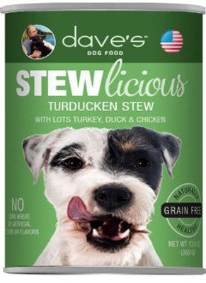 Daves Stewlicious Grain Free Canned Dog Food Turducken Stew -13oz-