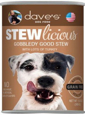 Daves Stewlicious Grain Free Canned Dog Food Gobbledy Good Stew -13oz-