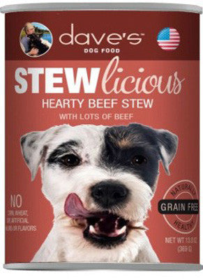 Daves Stewlicious Grain Free Canned Dog Food Hearty Beef Stew -13oz-
