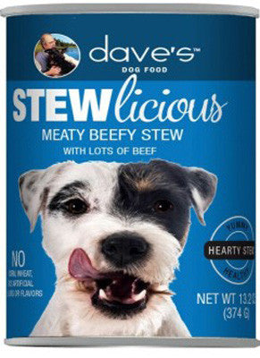 Daves Stewlicious Canned Dog Food Meaty Beef Stew -13oz-