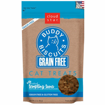 Cloud Star Grain Free Buddy Biscuits Cat Treats Tempting Tuna (3oz)