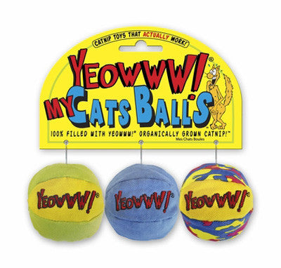 Yeowww! Catnip My Cats Balls Cat Toy, 3 count