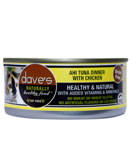 Daves Naturally Healthy Grain Free Canned Cat Food Ahi Tuna and Chicken 5.5oz