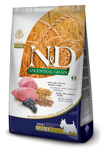 FARMINA Natural & Delicious Ancestral Grain Formula Lamb and BB Adult (Mini) Dry Dog Food