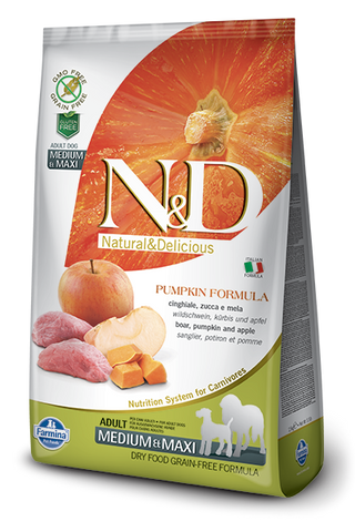 FARMINA Natural & Delicious Grain Free Pumpkin Formula Boar and Apple Adult (Med/Maxi) Dry Dog Food