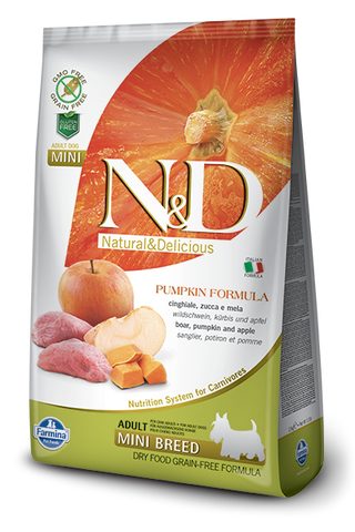 FARMINA Natural & Delicious Grain Free Pumpkin Formula Boar and Apple Adult (Mini) Dry Dog Food