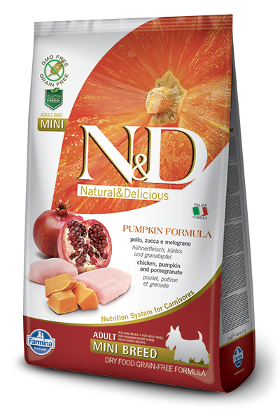 FARMINA Natural & Delicious Grain Free Pumpkin Formula Chicken and Pomegranate Adult (Mini) Dry Dog Food