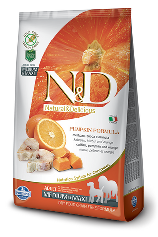 FARMINA Natural & Delicious Grain Free Pumpkin Formula Codfish and Orange Adult (Med/Maxi) Dry Dog Food