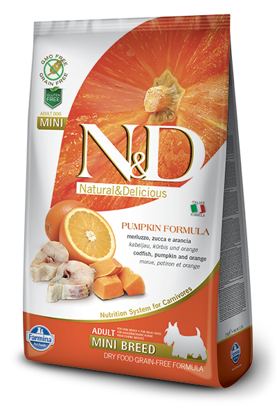 FARMINA Natural & Delicious Grain Free Pumpkin Formula Codfish and Orange Adult (Mini) Dry Dog Food
