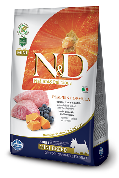 FARMINA Natural & Delicious Grain Free Pumpkin Formula Lamb and BB Adult (Mini) Dry Dog Food