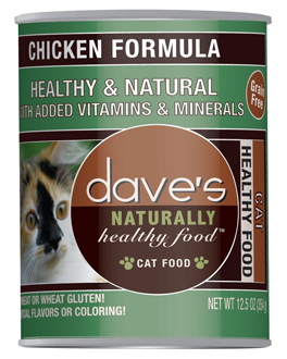 Daves Naturally Healthy Canned Cat Food Grain Free Chicken 12.5oz