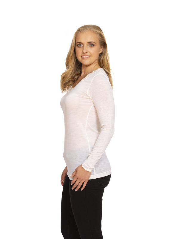 Nature's Secret - Merino Lace V Neck Long Sleeve - Made in New Zealand